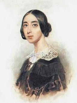 Pauline Viardot in an 1843 watercolour portrait by the Russian painter Petr Sokolov (1791–1848)